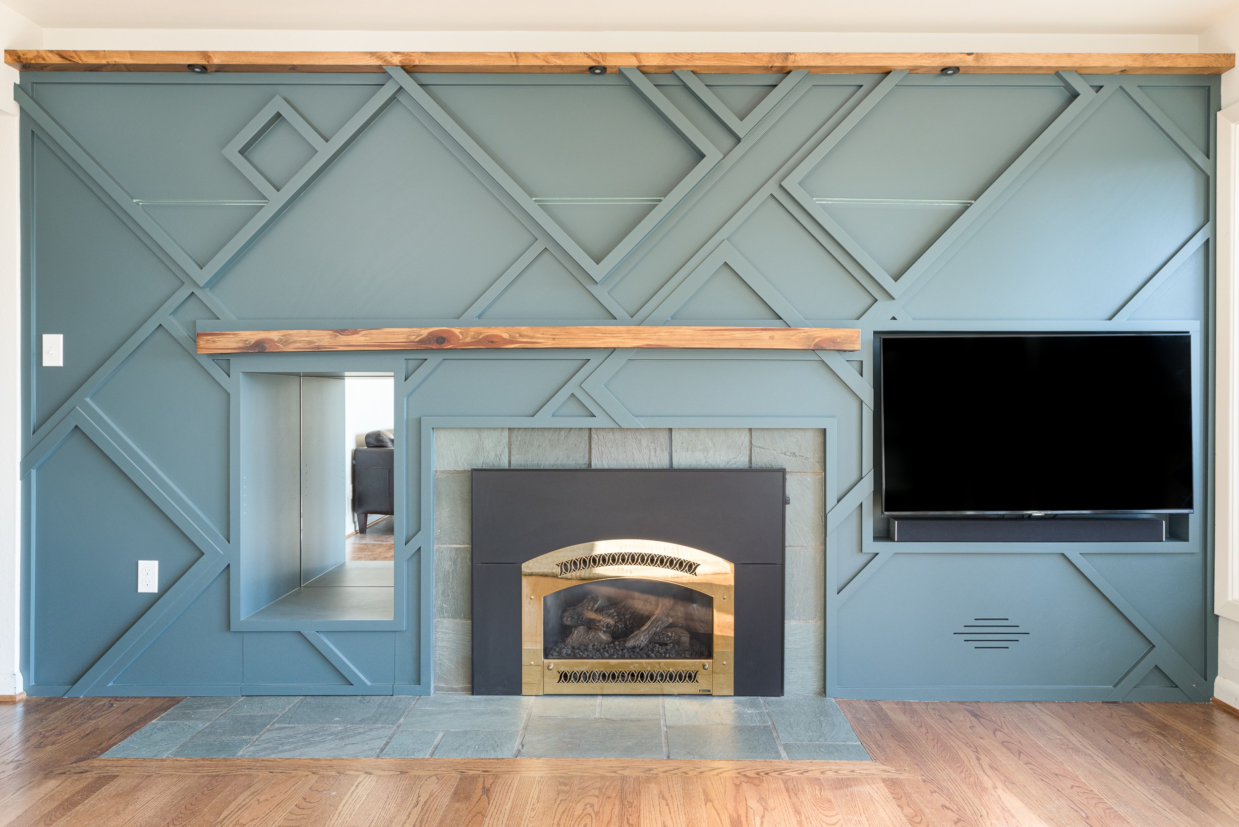modenr fireplace wall geometric panels