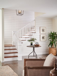 stairway trim with shiplap
