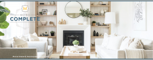 modern living room mantel and trim