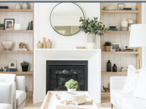 floating shelves and modern fireplace mantel